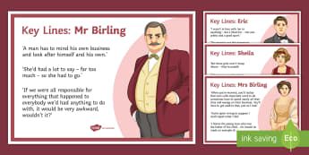 An Inspector Calls: Key Character Lines Display Posters - Lower ability key stage 4, low ability literature, key stage 4 literature, lower ability an inspecto
