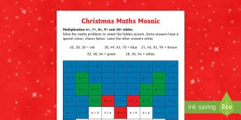 6, 7, 8 and 9 Times Tables Christmas Multiplication Mosaic Activity Sheet -  - Christmas pudding, times tables, xmas, Xmas, Father Christmas, Santa, St Nic, Saint Nicholas, tradit