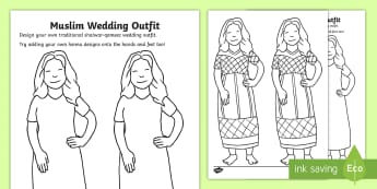 Muslim Wedding Outfit Design Template Activity Sheet - Religion, Islam, Islamic, Celebration, Shalwar-Qameez, worksheet