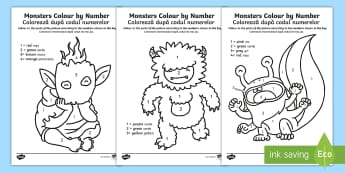 Monsters Colour by Number English/Romanian - monsters, colour, number, numbers, EAL