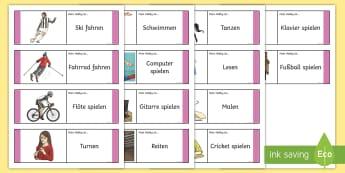 Meine Hobbies Domino Karten - Sport, Hobbies, DAF, DAZ, Sprachen lernen, Vokabeln, Domino Spiel,German