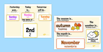 Day, Date, Month, Weather and Season Calendar Romanian Translation - romanian, day, date, month, weather