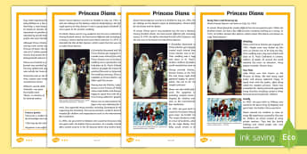KS2 Princess Diana Differentiated Fact File - Princess Di, Princess of Wales, royal family, British monarchy, biography.