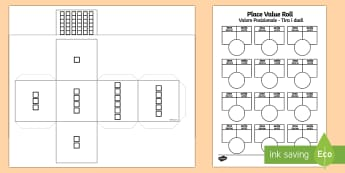 Place Value Roll Dice and Activity Sheet English/Italian - Place Value Roll Activity Dice Net And Worksheet - numeracy, visual aid, dice, placevalue, plce valu