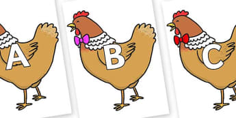 A-Z Alphabet on Henny Penny - A-Z, A4, display, Alphabet frieze, Display letters, Letter posters, A-Z letters, Alphabet flashcards