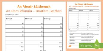 The Present Tense (An Aimsir Láithreach - An Dara Réimniú - Briathra leathan) Using the Verbs 'Gortaigh', 'Ullmhaigh' and 'Fiosraigh' Activity Sheet - Aimsir, láithreach, Dara, Réimniú, Briathra, leathan, two, Syllable, Practice, Gaeilge