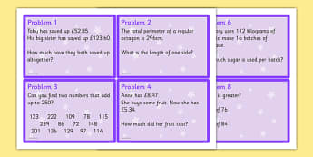 Maths Problem Cards Year 6 - problem cards, flash cards, question cards, maths problem cards, numeracy problem cards, numeracy question cards, year 6, tricky numeracy problems, time, addition, subtraction, money value
