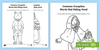 Year 1 Common Exception Words Red Riding Hood Themed Colouring Activity - phonics, spell, tricky words, fairy tale