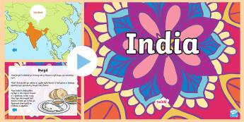 Pŵerbwynt India - India, geography, daearyddiaeth, gwybodaeth, diwylliant, baner, bwydm traddodiadau,Welsh