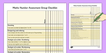 1999 Curriculum Junior Infants Maths Number Assessment Group Checklist - roi, irish, gaeilge, assessment checklist, maths, junior infants, number
