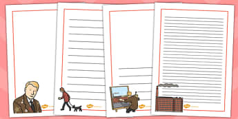 LS Lowry Page Borders - LS Lowry, Lowry, page borders, writing frames, lined pages, writing guide, writing template, themed writing frame, writing guide