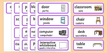 Classroom Word Cards Portuguese Translation - portuguese, classroom, word cards, word, cards