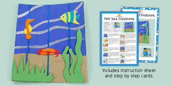 Felt Sea Creatures Picture Craft Instructions (Under the Sea) - craft, sea, felt