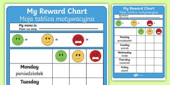 Editable Reward Chart English/Polish - Editable Reward Chart - Reward Chart, School reward, Behaviour chart, SEN chart, Daily routine chart