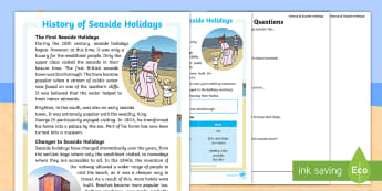 KS1 History of Seaside Holidays Differentiated Reading Comprehension Activity - coast, beach, sea, leisure, travel