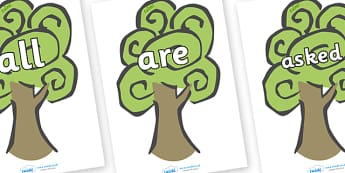 Tricky Words on Trees - Tricky words, DfES Letters and Sounds, Letters and sounds, display, words