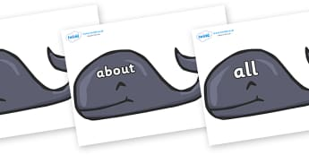 100 High Frequency Words on Whales - High frequency words, hfw, DfES Letters and Sounds, Letters and Sounds, display words