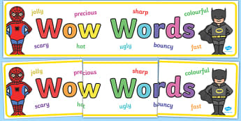 Wow Words Superhero Themed Display Banner - wow words, superhero, superhero themed, display banner, wow words banner, display, banner, header, themed banner