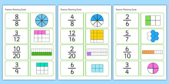 Fractions Matching Cards - fractions, matching cards, matching, matching fractions, fraction cards, numeracy cards, numeracy, numeracy game, fraction game