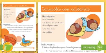 Caracoles con castañas Manualidad - otoño, fiestas, tradiciones, castañas, castañera