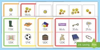 Bingo: Monedas - La tienda - bingo, euros, monedas, céntimos, cts., emparejar, tienda, tendero, objetos, juguetes, comida, ,Span