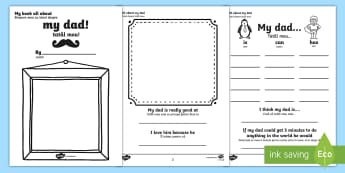 A Book About My Dad Father's Day Gift Idea (Writing Frames) English/Romanian - A Book About My Dad Template Fathers Day Gift Idea - father, dad, tempelte, riting, writting, temple