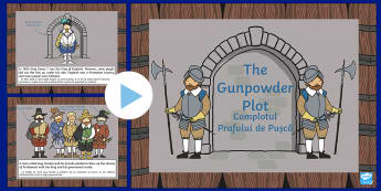 The Gunpowder Plot Information PowerPoint KS1 Romanian