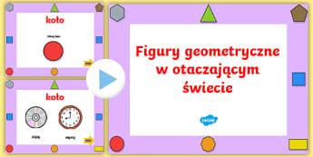 Prezentacja PowerPoint Figury geometryczne w otaczającym świecie  - matematyka, geometria, geometryczna, geometryczne, figury, koło, prostokąt, trójkąt, kwadrat, pr