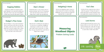Measuring Woodland Objects Problem Solving Question Cards - Maths, Shape, Space And Measure, Problem Solving, Measuring, Comparing, Comparison, Size, Height, Le