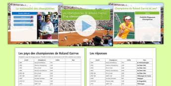 Le Pays des Championnes de Roland Garros PowerPoint Pack French - KS3, roland, garros, tennis, countries, powerpoint, activity, free, time, sport,French