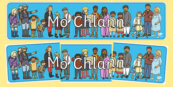 mo chlann Display Banner Gaeilge - gaeilge, my family, display banner, display, banner, family