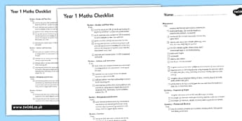 2014 National Curriculum Year 1 Maths Assessment Checklist - targets, math