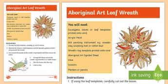 Australian Aboriginal Painted Leaf Wreath Artwork