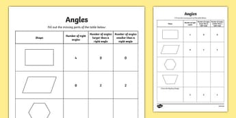 Angles Activity Sheet - canada, Mathematics, addition, subtraction, transformations, translation, reflection, rotation, angles, geometry, fractions, worksheet