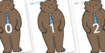Numbers 0-100 on Daddy Bear - 0-100, foundation stage numeracy, Number recognition, Number flashcards, counting, number frieze, Display numbers, number posters