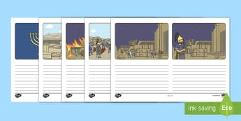 Hanukkah Story Storyboard Template - Hanukkah (24th Dec- 1st Jan), Judaism, festival of light, menorah, Maccabees, Judah Maccabee, King A