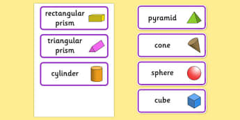 3D Shape Word Cards - 3D, 3D shapes, shapes, numeracy, maths