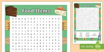 Food Items Word Search - German - German, MFL, Food, Essen, Languages