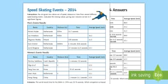 Winter Olympics Speed, Distance, Time Skating Activity Sheet - Winter, olympics, speed, distance, time, skating, PyeongChang, Sochi, winter olympics