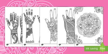 Mehndi Pattern Coloring Activity - coloring, diwali, hindi, indian, mehndi, henna, art