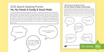Meeting People Using Apps Speaking Practice Worksheet / Activity Sheets - Spanish Speaking Practice, social media, technologies, friends, meeting people, teenagers, activity,