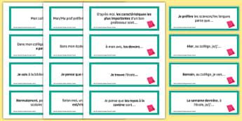 General Conversation Question Prompt Cards Life at School College - french, Conversation, Speaking, Questions, School, College, école, Collège, Scolaire, Professeurs, Teachers, Uniform, Uniforme, Rules, Règles, Règlement, Journée, Cards, Cartes