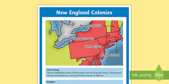New England Colonies Large Information Poster - Social Studies, History, New England Colonies, USA, Thirteen Colonies, Colonial America