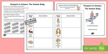 Passport in Science: The Human Body Checklist - organs, skeleton, anatomy, ourselves, bones, brain, circulation, respiration,