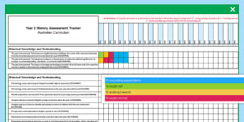 Year 2 History Assessment Tracker - assessment, assessments, monitor, tracking, recording, record, ,Australia