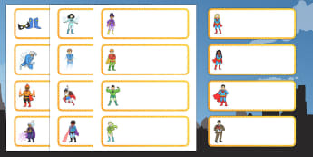 Superhero Themed Cubby Labels - superhero,  name label, draw and peg name label, draw label, peg labels, draw peg name labels, editable labels