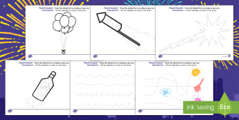 New Years Pencil Control Activity Sheets English/Afrikaans - January, Januarie, write, skryf, celebrate, EAL