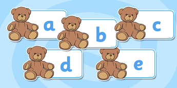 A-Z Alphabet on Teddy Bears - Teddy Bear, Teddy Bears, Alphabet frieze, Display letters, Letter posters, A-Z letters, Alphabet flashcards, car, bus, lorry, plane, racing car, train