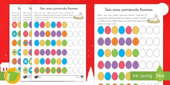 Ficha de actividad: Seis ocas poniendo huevos - Problemas, matemático, matemática, matemáticas, razonar, razonamiento, patrón, patrones, secuenc