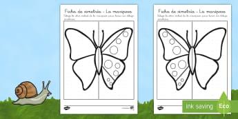 Ficha de simetría: Las alas de la mariposa - insectos, libélula, abeja, caracol, hormiga, típula, escarabajo, mariposa, oruga, gusano, mariquit - insectos, libélula, abeja, caracol, hormiga, típula, escarabajo, mariposa, oruga, gusano, mariquit